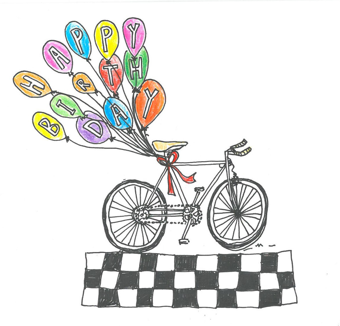 Birthday bike and balloons